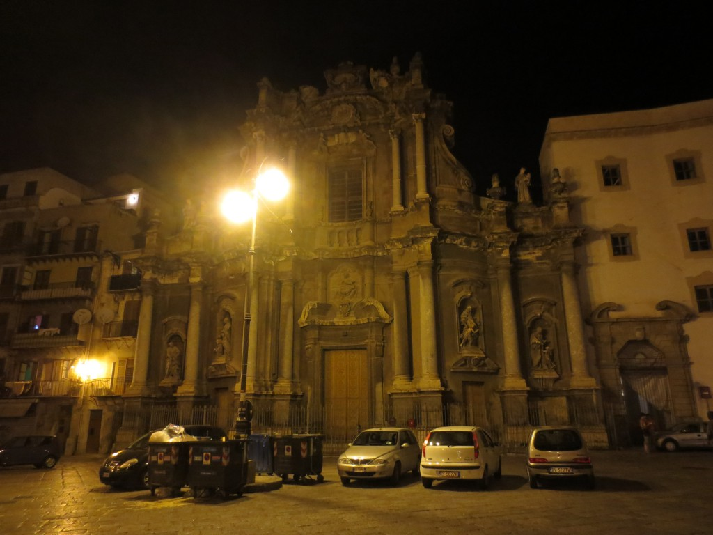 A church in Palermo, Sicily, lit up at night