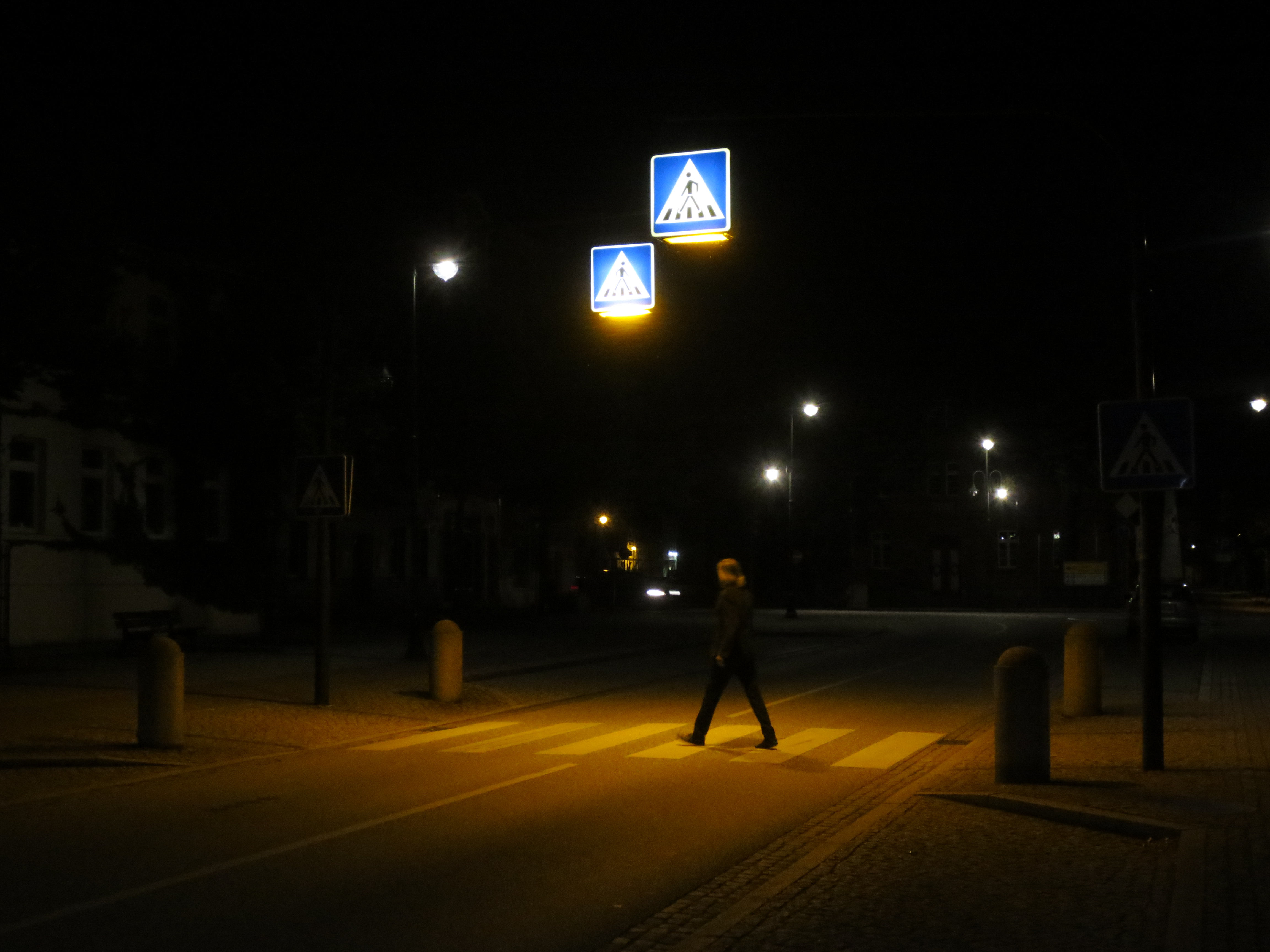 Crossing the street at night