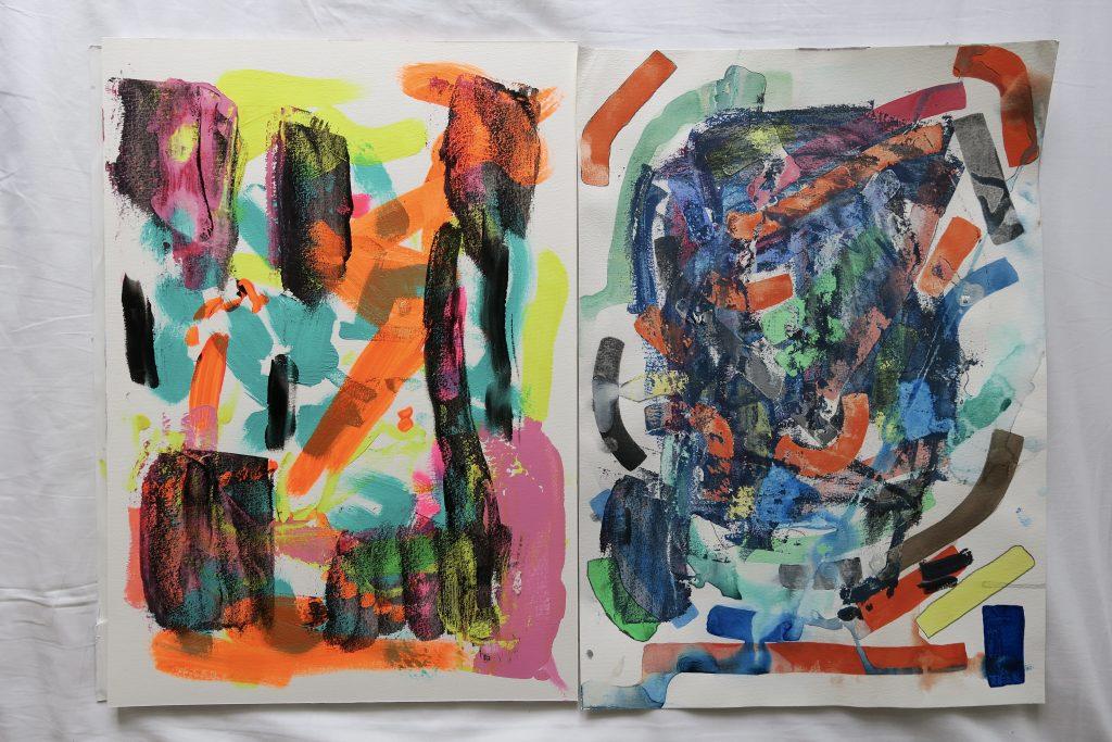 Two paintings, acrylic, gouache, crayon